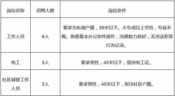 2019年广东省东莞市东城街道梨川社区居委会招聘12人公告